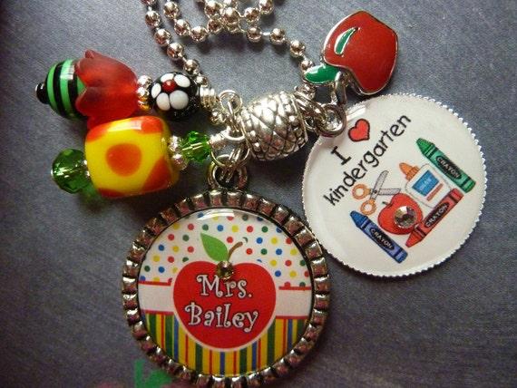 PERSONALIZED Teacher Name & Grade Double Bezel Pendant Necklace/Keychain/Lanyard