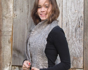 Felted scarf, Icelandic and Mohair fiber - gray