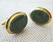 Vintage Oval Green Jasper Stone Cuff Links, 14 Karat Gold Filled Bezel Setting, circa 1970s