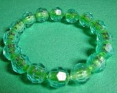 Vintage Pop Bead Bracelet, Fun Vintage St. Patricks Day Jewelry, Snap Bead Bracelet, Bright Green Faceted Beads,