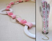 Vintage 1960s Chain Link Belt: Mod Hippie Boho Go-Go, Plastic Circles and Pink Leather Chain Link Belt