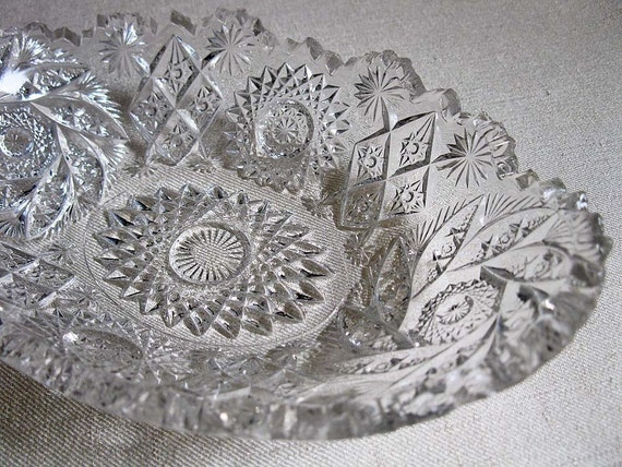Vintage Crystal Cut Glass Oval Candy Dish Or Bowl Jewelry