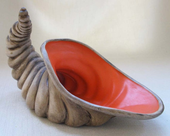 Vintage Ceramic Cornucopia, Harvest, Fall, Autumn Decor, Thankgiving Centerpiece, Decoration, Flower Arrangement
