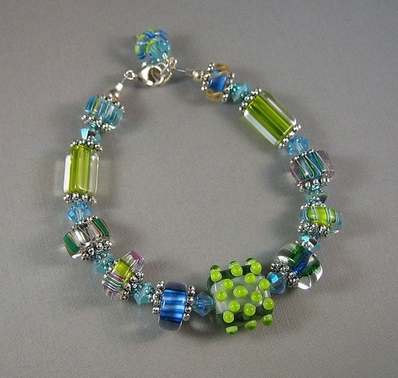 Summer blues and greens furnace glass, cane glass, lampwork,  Swarovski  Crystal Bracelet