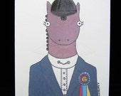 Champion Huntseat Hunter Jumper Show Horse - Blank Note Card - Illustration by A.Bamber