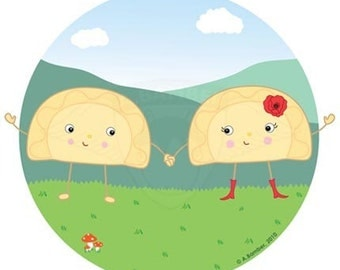 Cute Perogies (Pyrohy/Varenyky) Holding Hands Card - Illustrated by A.Bamber