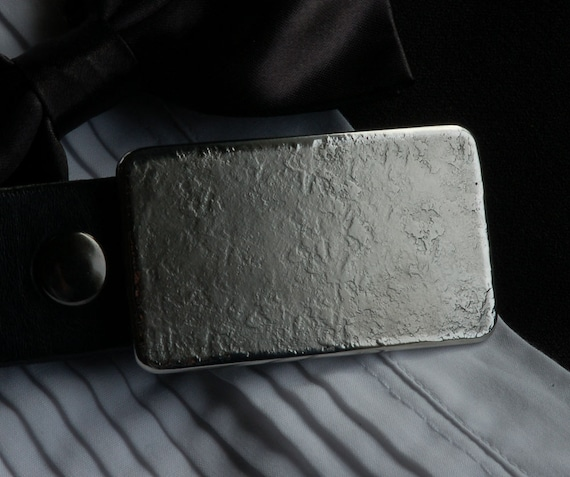 """Silver Hand Forged Men's Belt Buckle Stainless Steel Textured Classic Jean Buckle Hypoallergenic Accessory Signed Original Fits 1-1/2"""" Belt"""