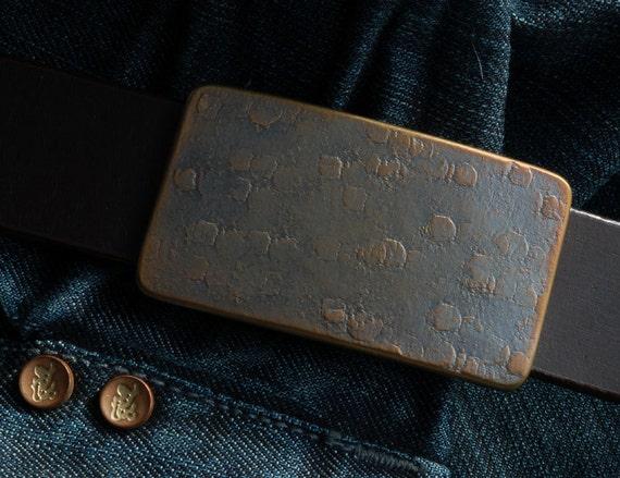 """Fisherman's Gift Bronze & Blue Belt Buckle Hand Forged Stainless Steel ~ Hypoallergenic ~Anvil Textured Boyfriend Gift ~ Fits 1.25"""" Belt"""