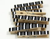 Clothespins.  Set of Ten. Black Stripe.