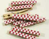 Clothespins.  Set of Ten. Valentine Hearts