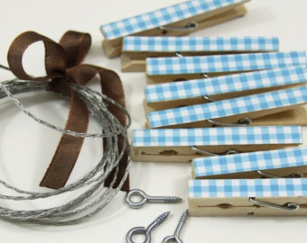 Clothesline Kit. Blue Gingham Clothespins and Hanging Wire