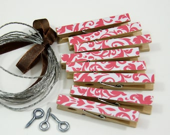 Clothesline Kit. Pink Damask Clothespins and Hanging Wire