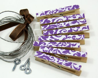 Clothesline Kit. Purple Damask Clothespins and Hanging Wire
