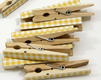 Clothespins.  Set of Ten. Yellow Gingham