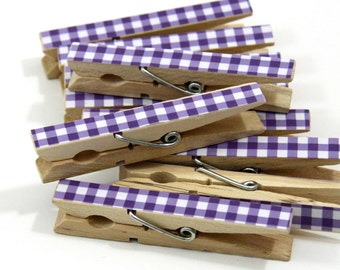 Clothespins.  Set of Ten. Purple Gingham
