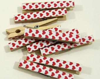 Clothespins.  Set of Ten. Valentine Hearts