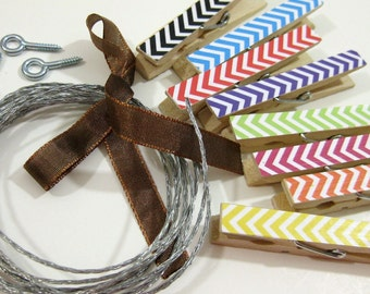 Clothesline Kit. Rainbow Chevron Clothespins and Hanging Wire