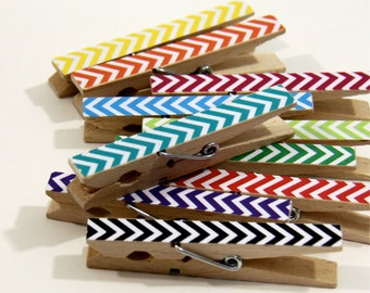 Clothespins.  Set of Ten. Rainbow Chevron.