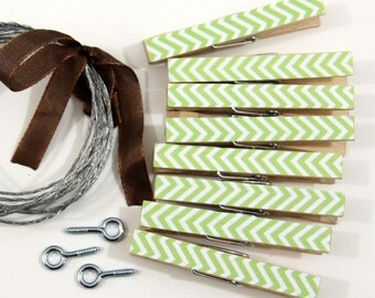 Clothesline Kit. Lime Green Chevron Clothespins and Hanging Wire