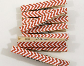 Clothespins.  Set of Ten. Orange Chevron.