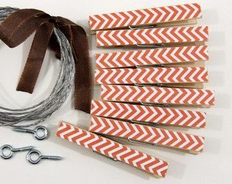Clothesline Kit. Orange Chevron Clothespins and Hanging Wire