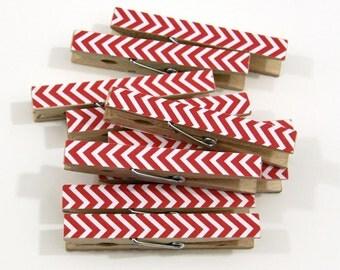 Clothespins.  Set of Ten. Red Chevron.