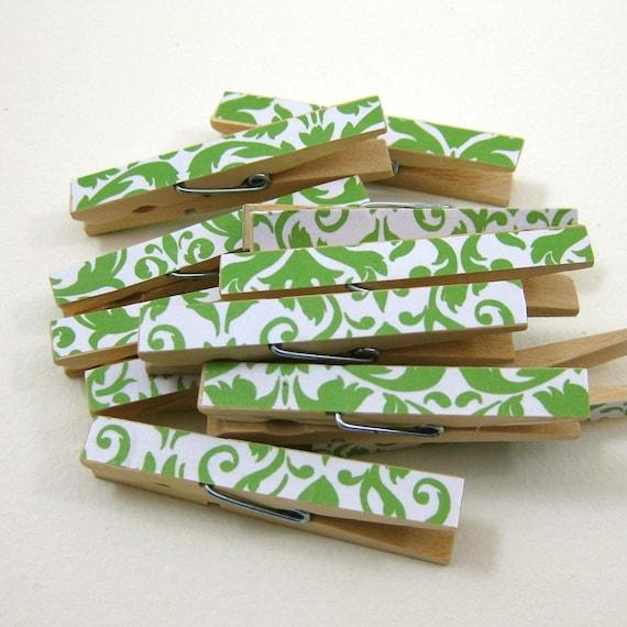 Clothespins.  Set of Ten. Green Damask