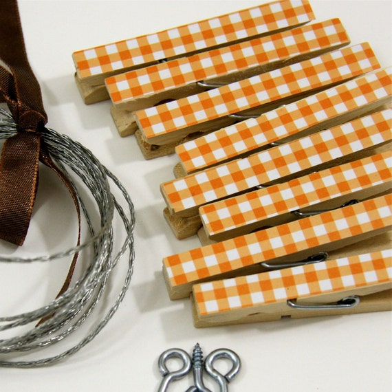 Clothesline Kit. Orange Gingham Clothespins and Hanging Wire