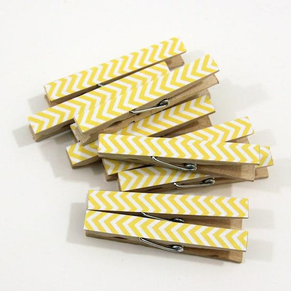 Clothespins.  Set of Ten. Yellow Chevron.