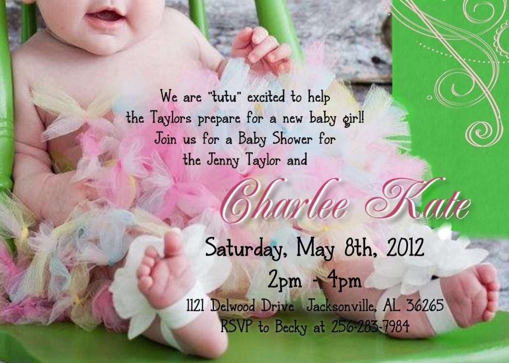 tutu baby shower invitation for girl by wilsonphotoanddesign