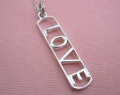 Love Charm Sterling Silver Necklace Word Tag Large