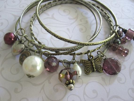 Sale Bangle Bracelets Five Purple Butterfly Heart Charm Beaded Bronze Brass Silver Pearl