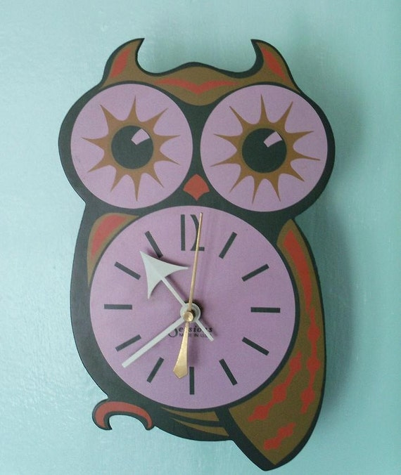 RESERVED--Retro Sessions Owl Wall Clock