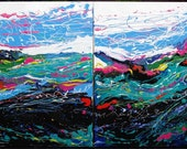 TROPICAL FLOW of NATURE : Colorful Abstract Expressionist Original Diptych Painting