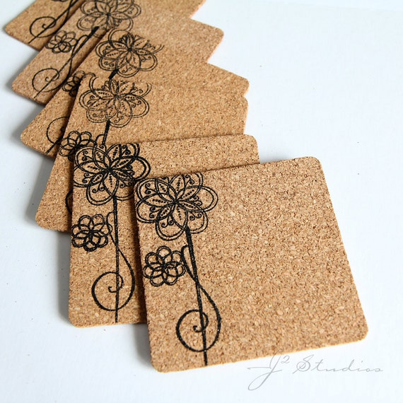Cork Drink Coaster, Curly, Flower, Floral Pattern, Set of 6