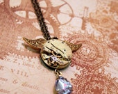 Steampunk Inspired Necklace - Golden Winged Clockwork -
