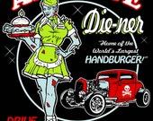 custom long sleeve large All Night Die-Ner Tee  Rockabilly Zombie Psychobilly