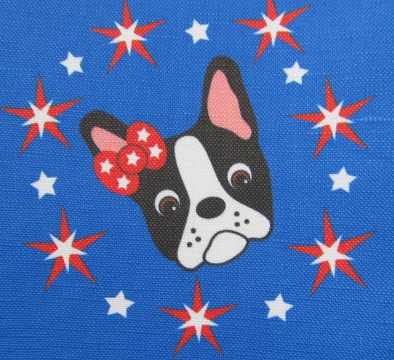 Red, White and Blue Boston Terrier Canvas Fabric FQ