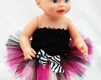 Hot Pink Zebra Doll Tutu - Fits American Girl Dolls, My Generation Dolls, and Baby Dolls