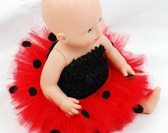 Ladybug Doll Tutu - Fits American Girl Dolls, My Generation Dolls, and Baby Dolls