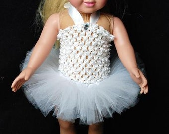"""2-Piece Pure White Tutu Outfit For 18"""" and 15"""" Dolls - Fits American Girl Dolls and My Generation Dolls"""