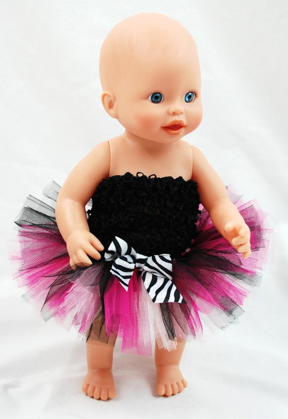 Hot Pink Zebra Doll Tutu - Fits American Girl Dolls, My Generation Dolls, and Baby Dolls