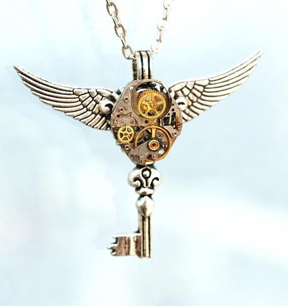 Winged Steampunk Key Necklace