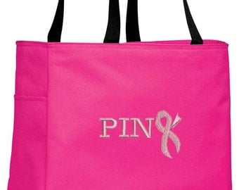 Cancer Awareness Tote Bag Pink with Ribbon