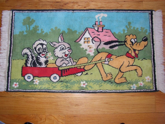 1940's Pluto, Thumper & Flower Disney Rug - Rare and Vibrant