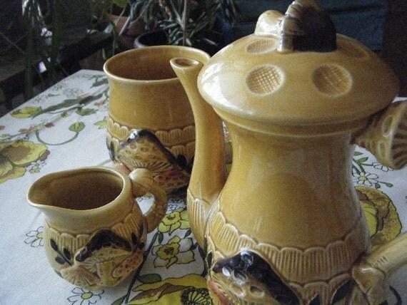 Yellow and Brown Mushroom Tea Set - 3pc. - Hourglass Teapot, Cream, and Big Sugar Bowl