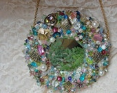 MIRROR Art Piece Vintage Jewelry Multicolored OOAK