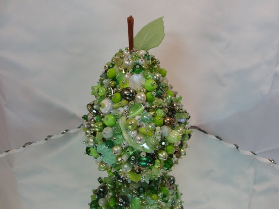 PEAR Table Decoration Art Ornament Peridot Green Silvertoned OOAK Handmade