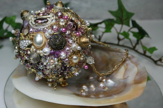 Ornament Purple and Gold Art Piece OOAK Vintage Jewelry Assemblage
