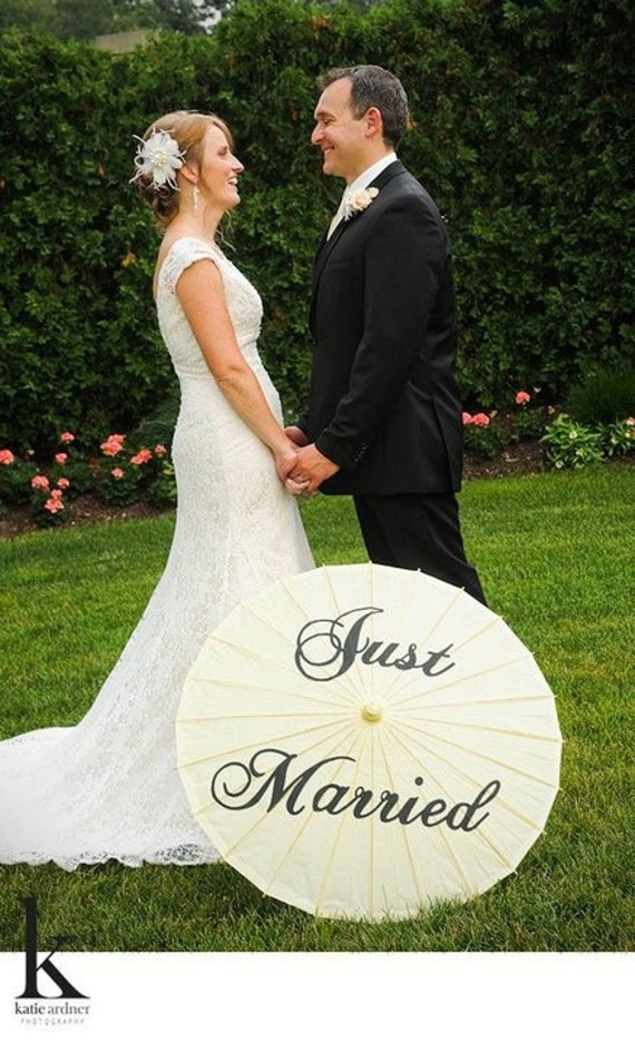 Hand Painted Custom Just Married Parasol